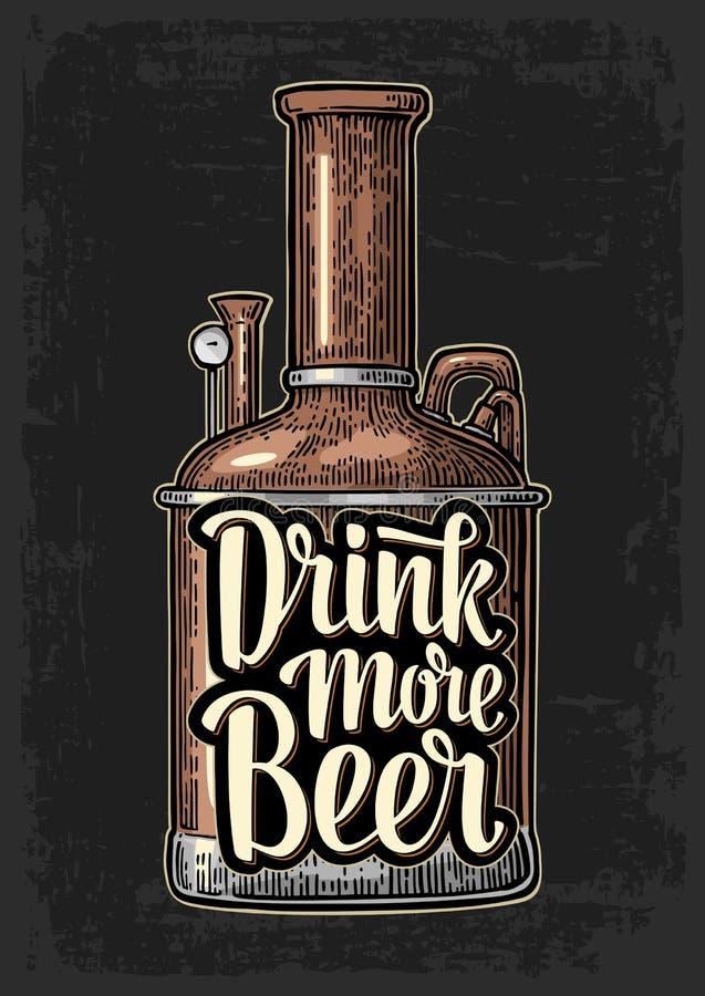 Raden av behållaren från bryggerifabrik och bokstäver dricker mer öl stock illustrationer