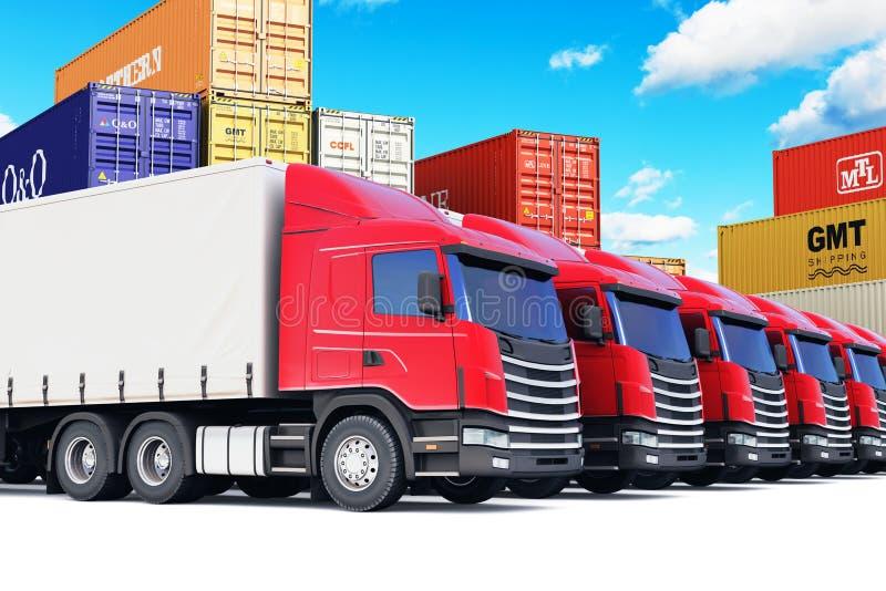 Raden av last åker lastbil på havsporten royaltyfri illustrationer