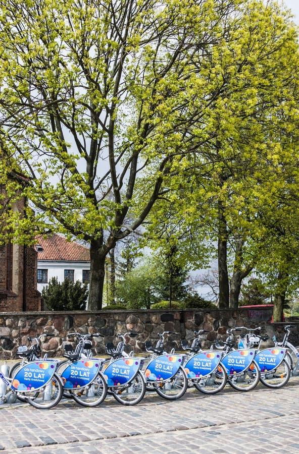 Raden av staden cyklar för hyra på anslutningsstationer i den gamla staden, Warszawa arkivbild