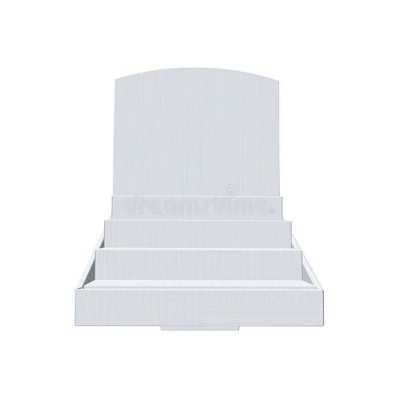 Raden kontrar skärm, den Tiered ställningen, vitt som är klar, mellanrumet kontrar skärmåtlöje som isoleras upp på vit bakgrund royaltyfri fotografi