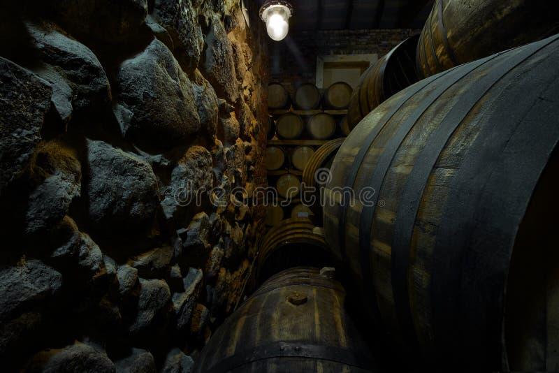 Rader av alkoholiserade valsar i materiel spritfabrik Cognac whisky, vin, konjak Alkohol i trummor arkivfoto