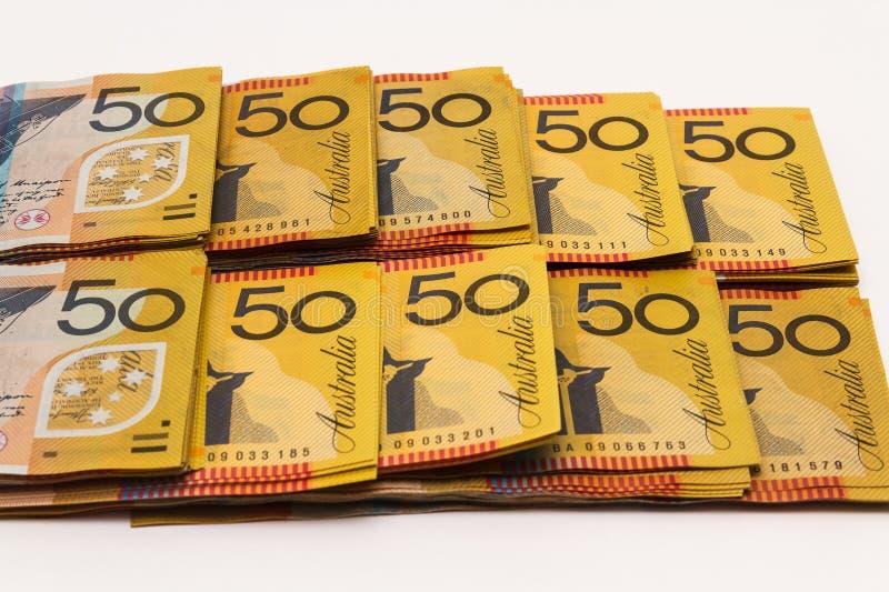 Rader av anmärkningar för australier $50 arkivbilder
