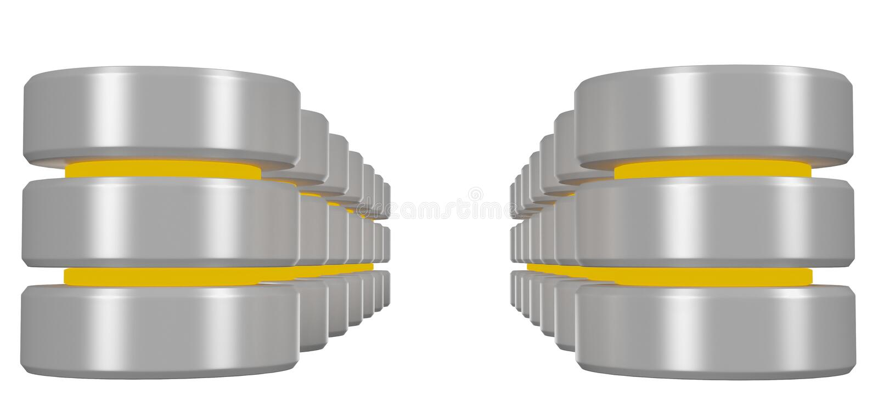 Rader av databassymbolen med gul beståndsdelperspektivsikt vektor illustrationer