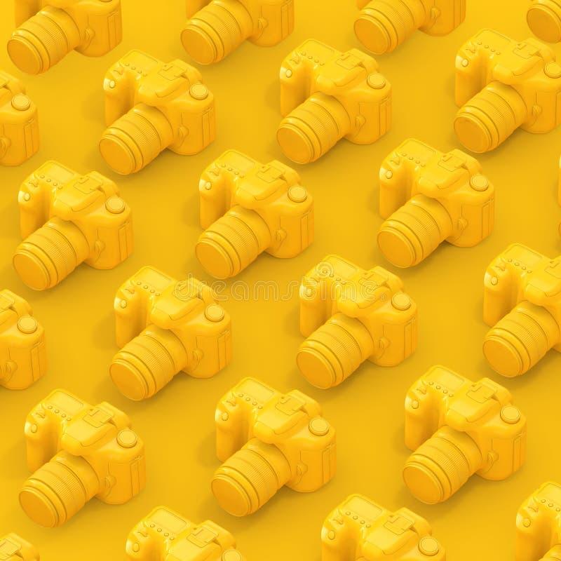 Rader av den gula moderna Digital fotokameran framförande 3d stock illustrationer