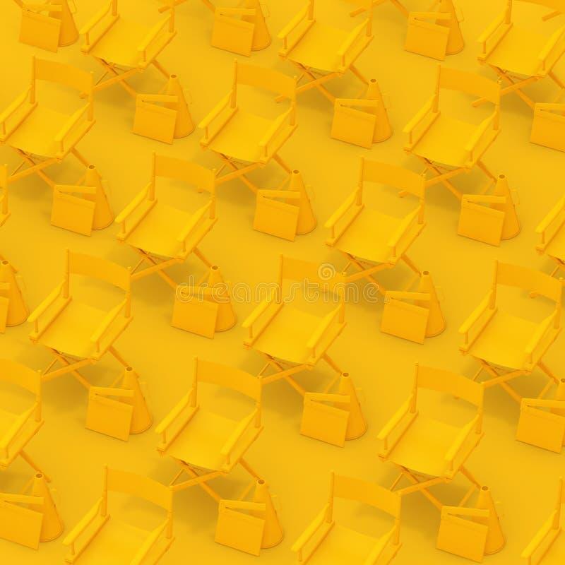Rader av gula direktörstolar med panelbrädor och megafoner framförande 3d vektor illustrationer