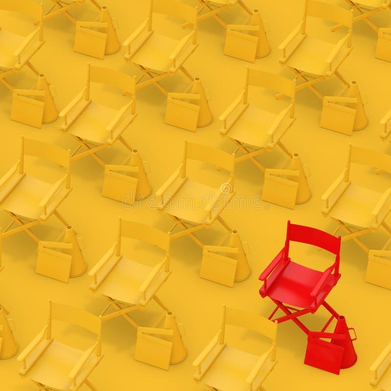 Rader av gula direktörstolar med röd med panelbrädor och megafoner framförande 3d royaltyfri illustrationer