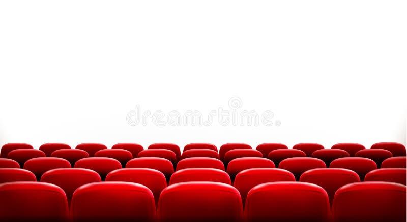 Rader av röda bio- eller teaterplatser vektor illustrationer