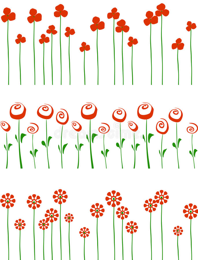 Rader av röda blommor. stock illustrationer