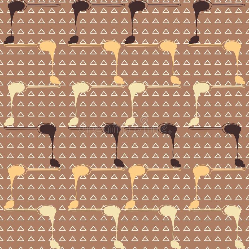 Rader av smältande chokladskedar på triangelbakgrund Seamles vektormodell stock illustrationer