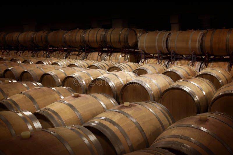 Rader av trävinfat på vinkällaren arkivbild