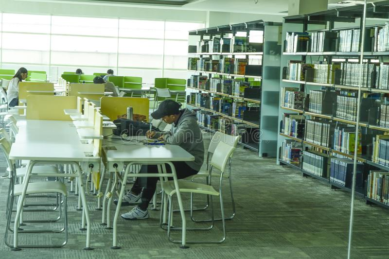 Rader i bokrack och studenter i bibliotek royaltyfri foto
