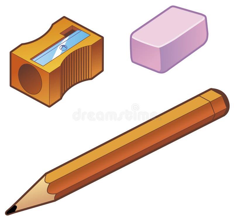 radergummiblyertspennasharpener vektor illustrationer