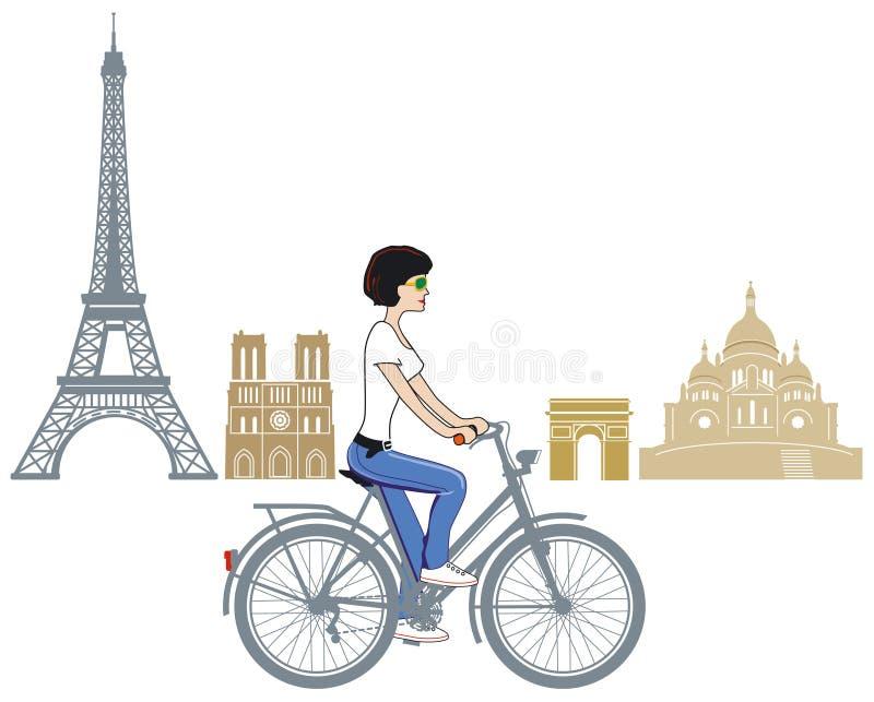 Radfahren in Paris lizenzfreie abbildung