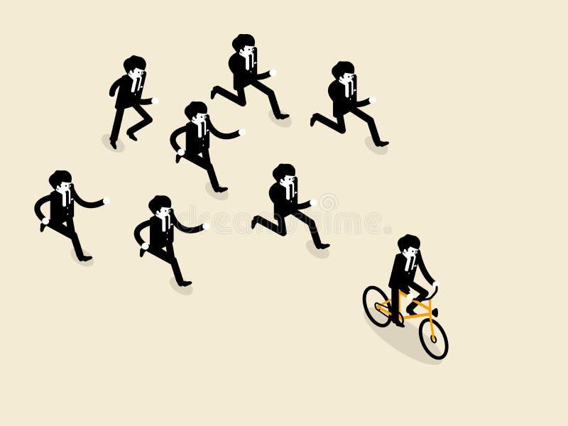 Radfahrendes Fahrrad des Geschäftsmannes ist vor der Gruppe des Geschäftsmannes, den die folgen laufen lassen stock abbildung