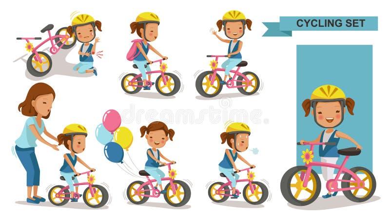 Radfahrendes kleines Mädchen stock abbildung
