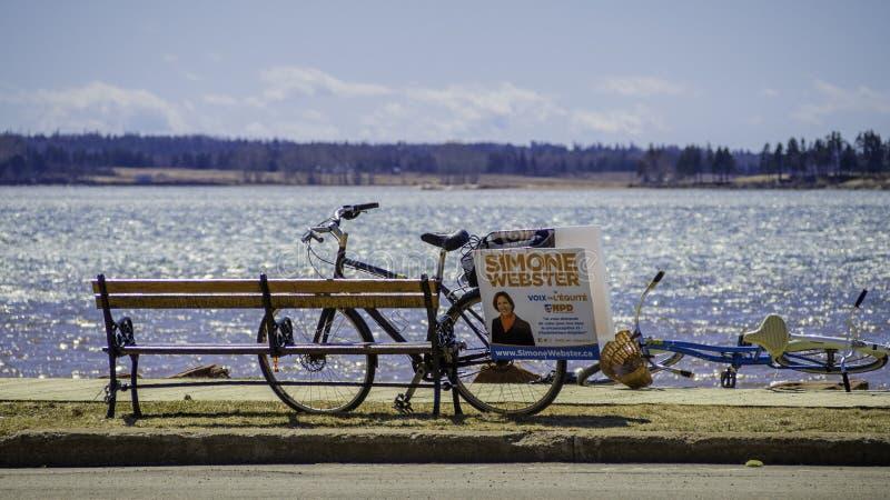 Radfahrenkampagne von Simone Webster, NDP-Kandidat im P e I wahl stockbilder