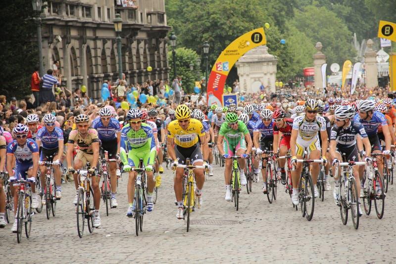 Radfahrer an Ausflugde Frankreich 2010 lizenzfreies stockfoto