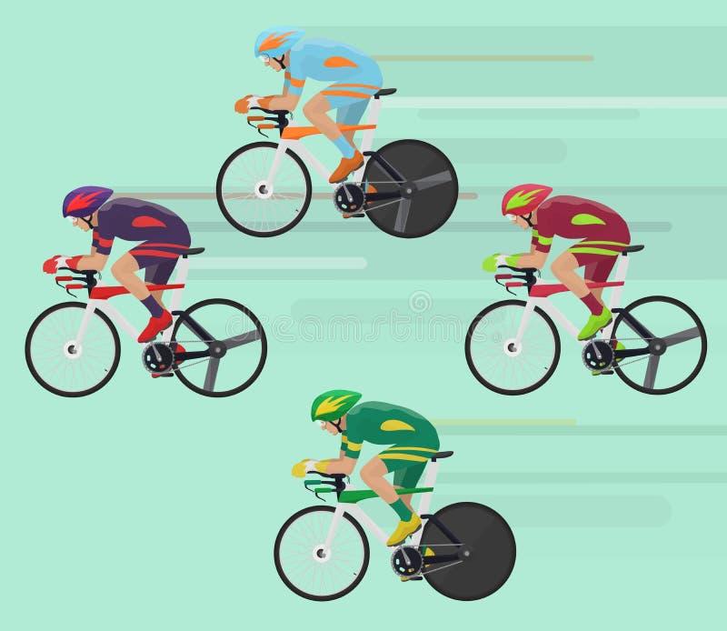 Radfahrer bemannen auf laufendem Konzept des Straßenrennenfahrrades vektor abbildung