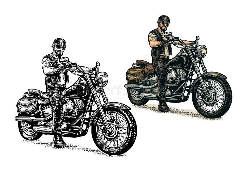 Radfahrer, der ein Motorrad reitet Vektor gravierte Illustration vektor abbildung