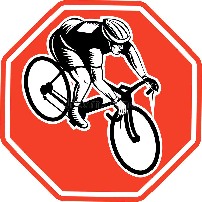 Radfahrer, der Fahrrad läuft lizenzfreie abbildung
