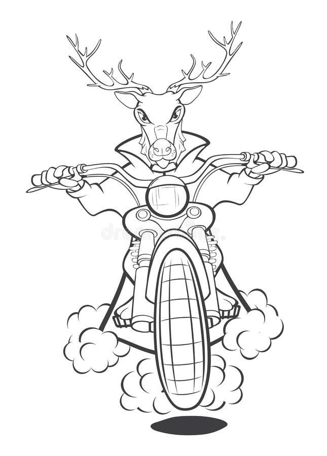 Radfahrer-Elche eine Motorrad-Karikatur-Illustration Bunte grafische Abbildung umreiß vektor abbildung