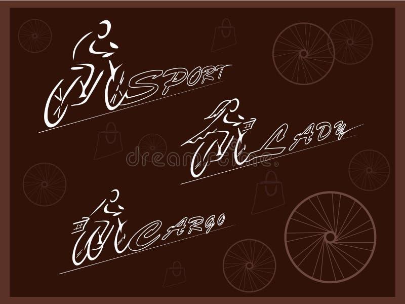 radfahrer Fahrräder für verschiedene Zwecke Das Fahrrad der Sportmänner und -Frauen Dreirädriges Frachtfahrrad Vektor vektor abbildung
