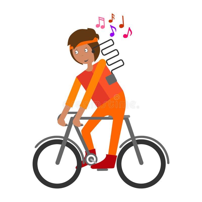 Radfahrer-Fahrradfahrt Vektorauf lagerabbildung Getrennt auf weißem Hintergrund stock abbildung