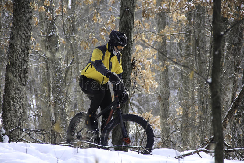 Radfahrer im schneebedeckten Wald stockfotos