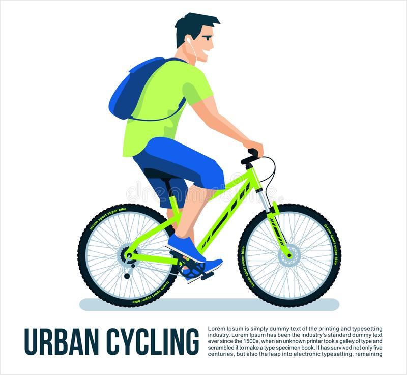 Radfahrer-Mann in der Fahrrad-Fahrt auf den weißen Hintergrund, den kühlen Vektor, die Fahnen-oder Plakat-Vektor-Design-flache Il stock abbildung