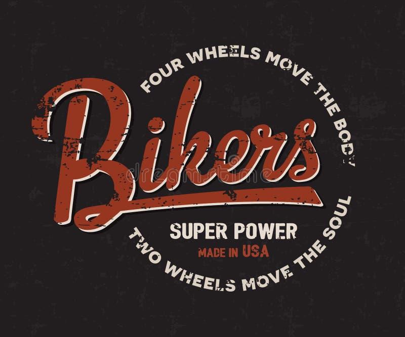 Radfahrer, Motorrad, Motorradtypographie Weinleserennläufert-stück Druckdesign T-Shirt Grafiken stock abbildung