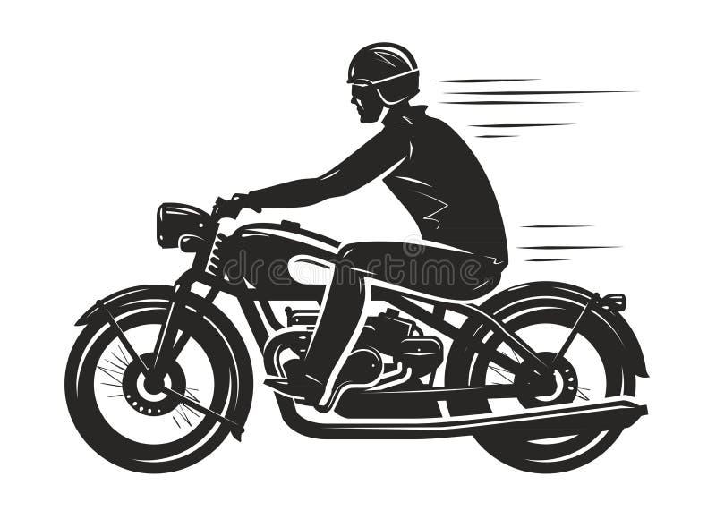 Radfahrer reitet ein Retro- Motorrad, Schattenbild Motorsport, Motorradkonzept Auch im corel abgehobenen Betrag lizenzfreie abbildung