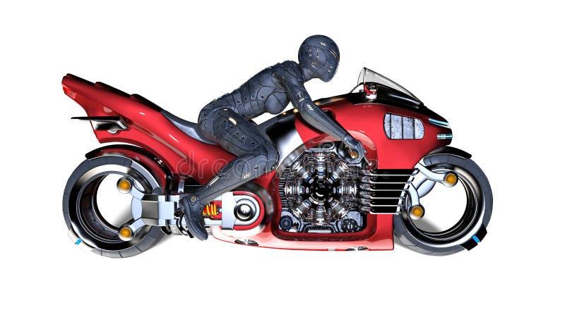 Radfahrermädchen mit dem Sturzhelm, der ein Sciencefictionsfahrrad, Frau auf dem roten futuristischen Motorrad lokalisiert auf we stock abbildung