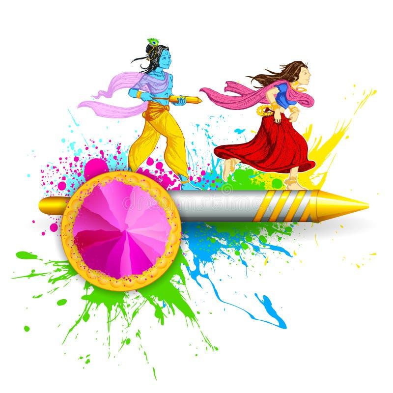 Radha e signore Krishna che gioca Holi illustrazione di stock
