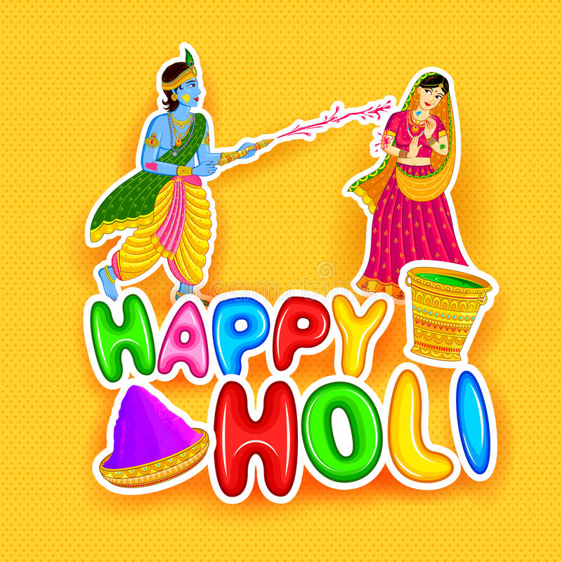 Radha Krishna die Holi spelen stock illustratie