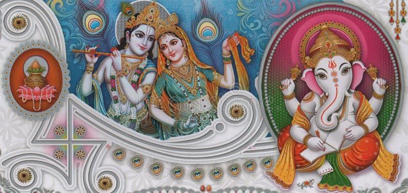 radha krishna ganesha beautiful wallpaper rendering illustration wall poster colorful background 181352962