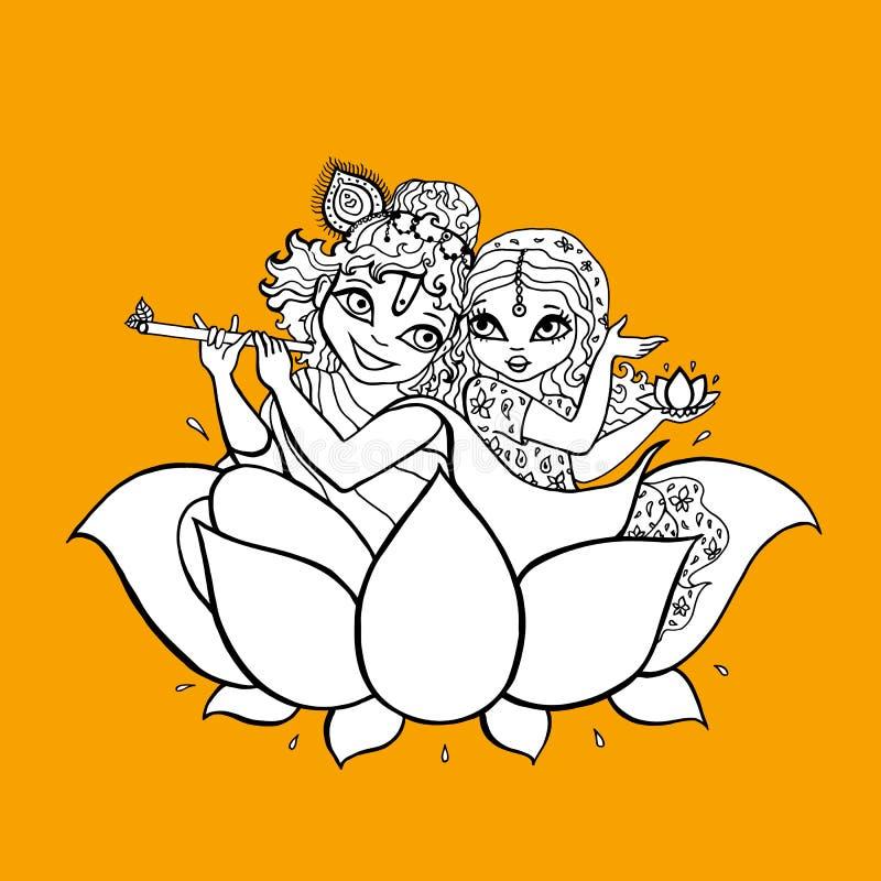 Radha Krishna hinduisk gud stock illustrationer