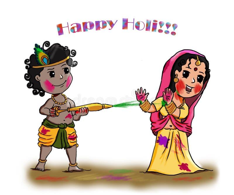 Radha Krishna Holi Greetings - il festival più variopinto dell'India fotografia stock libera da diritti