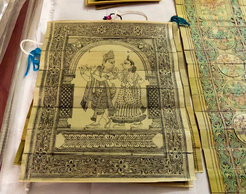 Radha Krishna Painting sur la feuille de banane images libres de droits