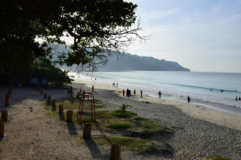 Radhanagar Beach, Havelock Island,Andaman - Crowned as Asia best beach. & 7th best beach in the world, seascape of white sand with perfectly coloured blue stock photography