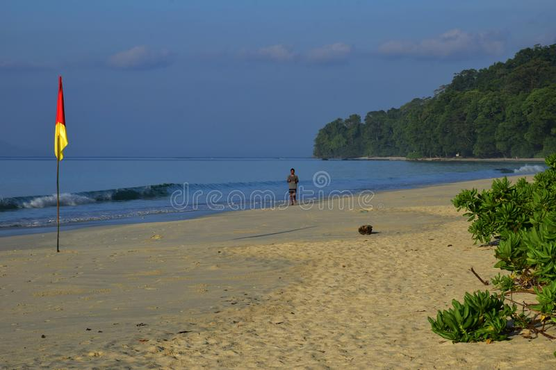 Radhanagar Beach, Havelock Island,Andaman - Crowned as Asia best beach. & 7th best beach in the world, seascape of white sand with perfectly coloured blue stock image