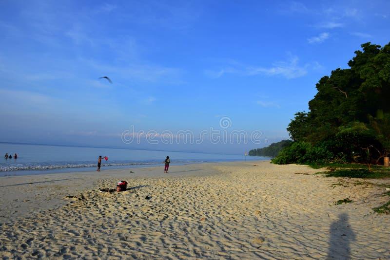 Radhanagar strand, Havelock ö, Andaman - som krönas som Asien den bästa stranden arkivbilder