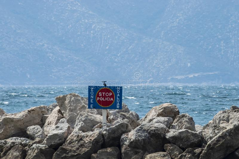 Prohibited police area sign, used from the Albania and Italian police to dock boats used to patrol Albanian territorial waters for. Radhime, Vlore, Albania royalty free stock photos