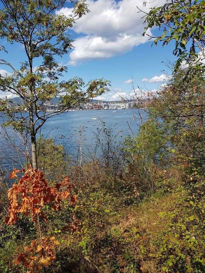 Radhusbrygge contenuto 3, Oslo, Norvegia Nella distanza ? Oslo centrale fotografia stock