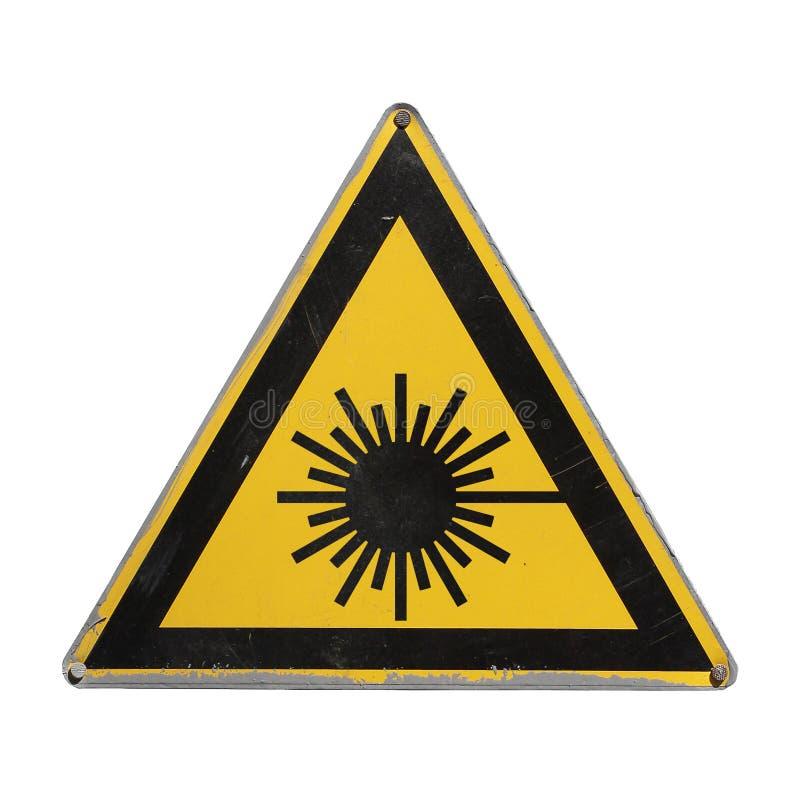 Radiação de laser perigosa Triângulo amarelo fotos de stock
