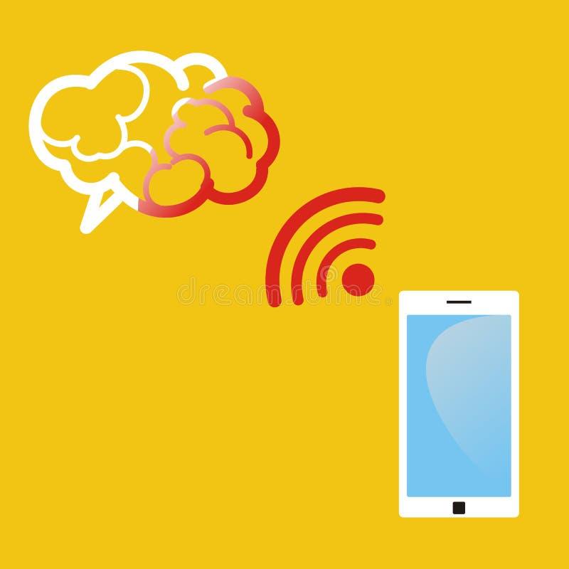 A radiação do telefone celular conduz aos danos cerebrais Illust médico ilustração royalty free
