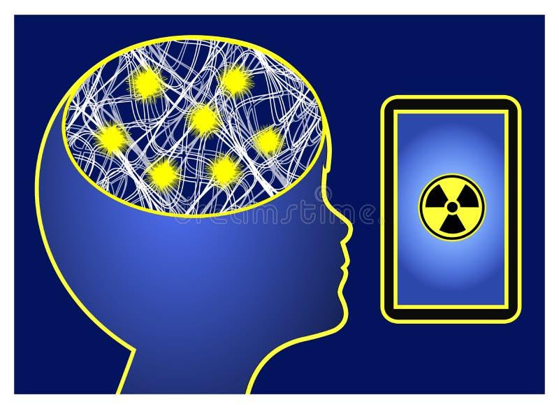A radiação do telefone celular provoca a epilepsia ilustração do vetor