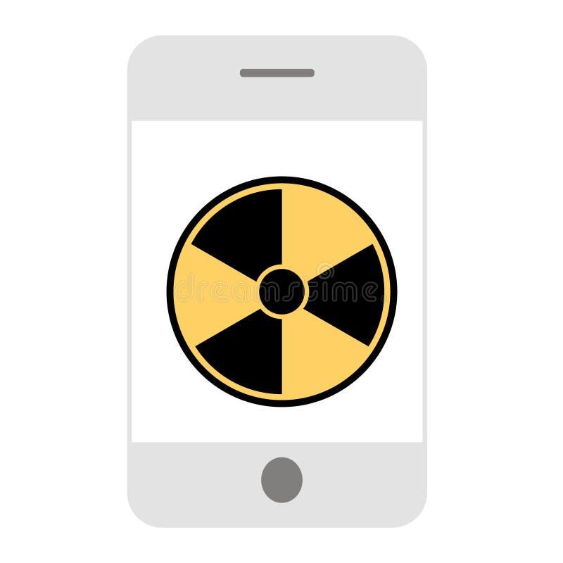 Radiação e conceito da saúde do telefone celular Ícone liso ilustração do vetor