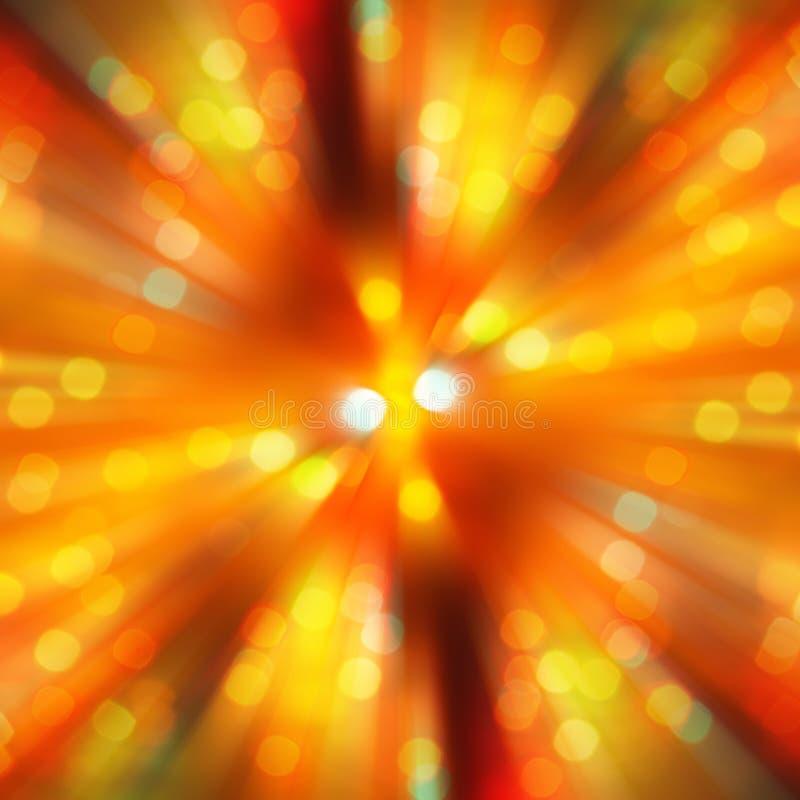 Radiaal gouden onduidelijk beeld van het lichte ontwerp van de bokehvlek stock afbeeldingen