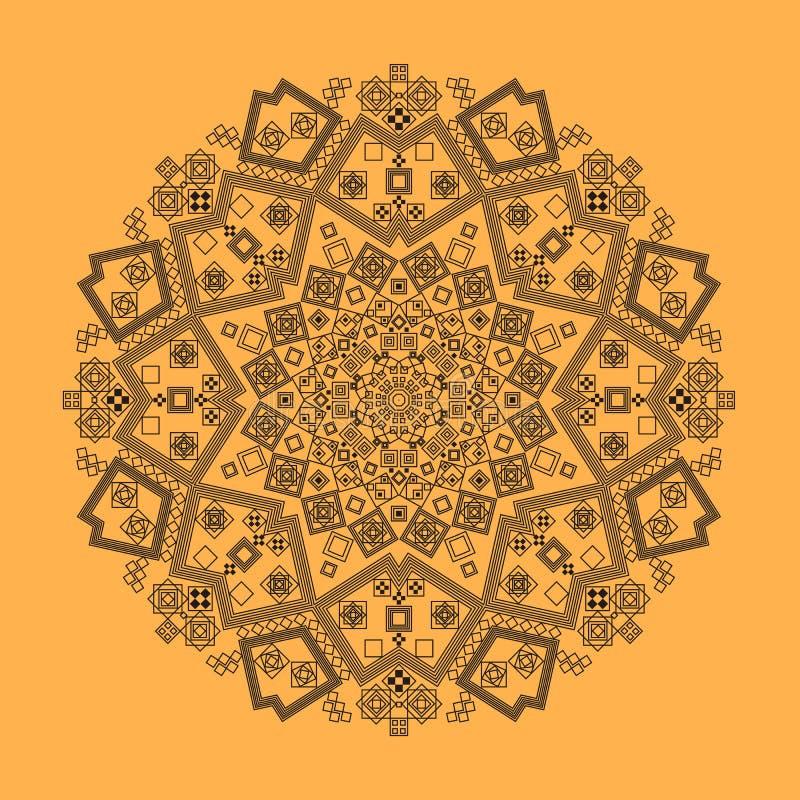 Radiaal patroon van krullen en spiralen de geometrische Henna van de tapijtkleur stock illustratie