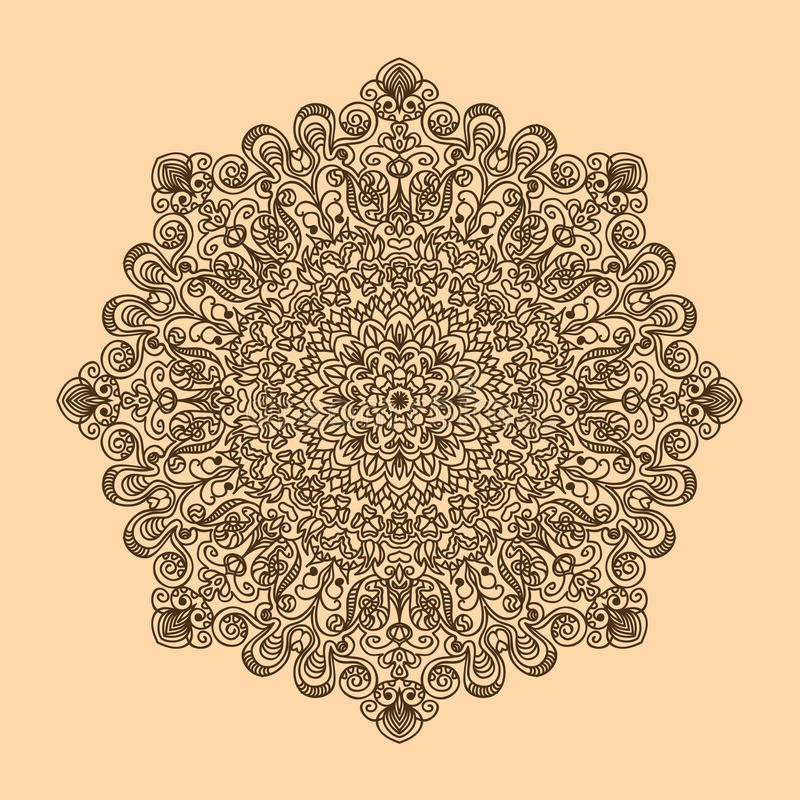 Radiaal patroon van krullen en spiralen grote en complexe kleur van h royalty-vrije illustratie